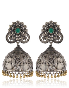 Traditional Jhumkas With Flower Motif In Oxidised Silver By Meena Bazaar
