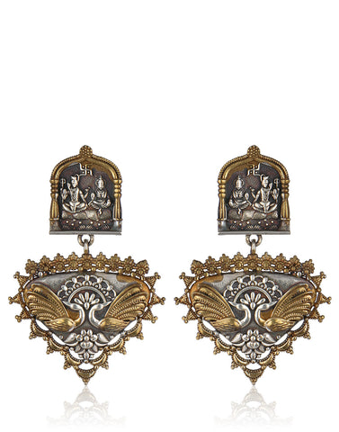 Shiv-Parvati Traditional Oxidised Mix Metal Dangler Earrings By Meena Bazaar