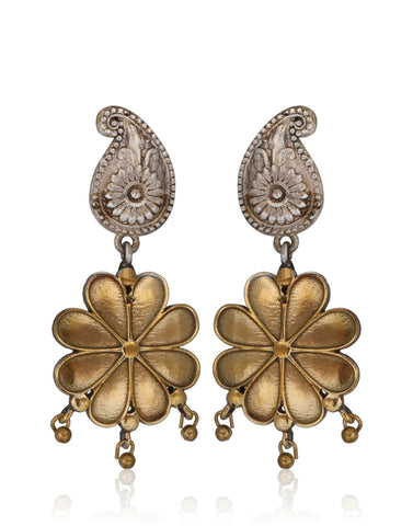 Flower Drop Dangler Earrings In Oxidised Mix Metal By Meena Bazaar