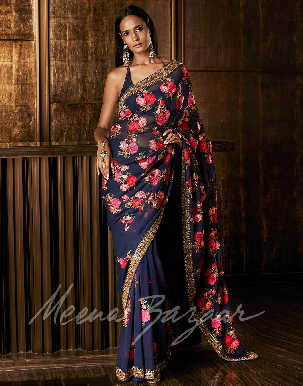 Meena Bazaar: Floral Embroidered Georgette Saree With Embellished Border