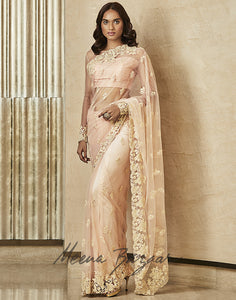 Net Saree With Floral Embroidery