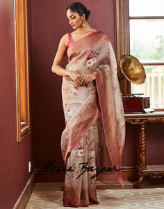 Beige Kora Cotton Printed Saree