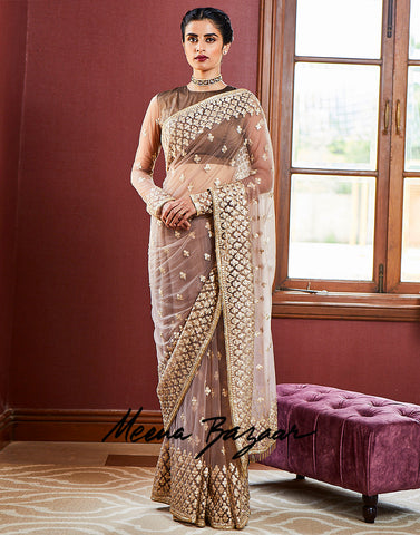 Grey Net Embroidery Saree