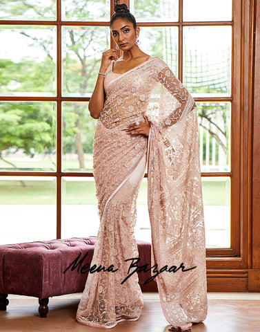 Light Pink Net Embroidery Saree