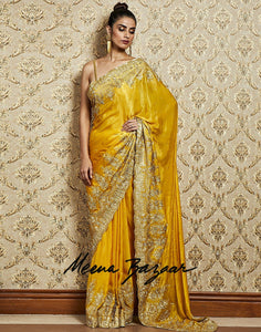 Mustard Satin Embroidery Saree