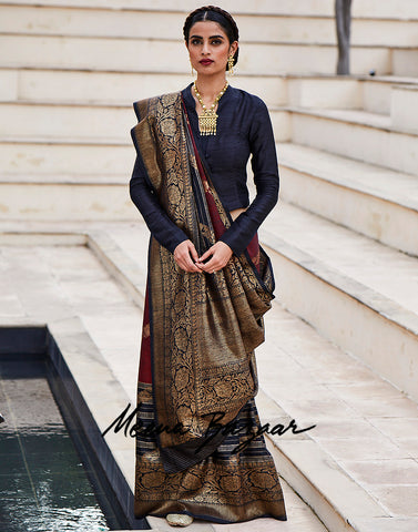 Black Banarasi Woven Ghichha Border Saree