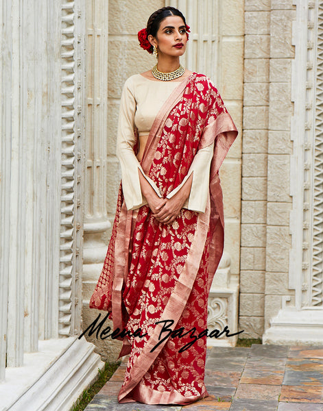 Hot Pink Georgette Woven Saree