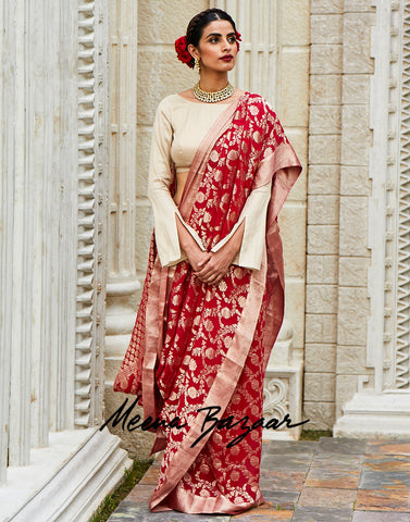 Hot Pink Plain Georgette Woven Saree