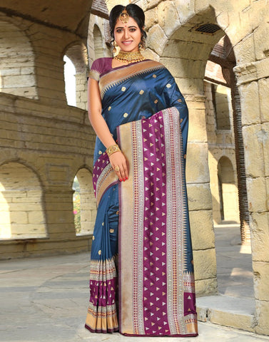 SAREES-WOVEN - BANARASI SILK WITH CONTRAST BORDER