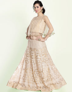 Meena Bazaar: Embroidered Net Lehenga With Cape Style Croptop