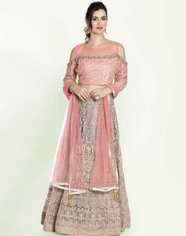 Meena Bazaar: Net Lehenga Set With Floral Embroidery