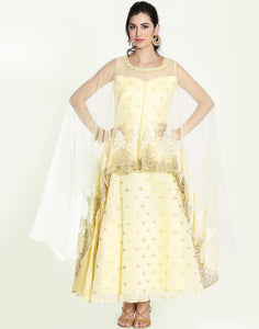 Meena Bazaar: Embroidered Net Anarkali With Cape