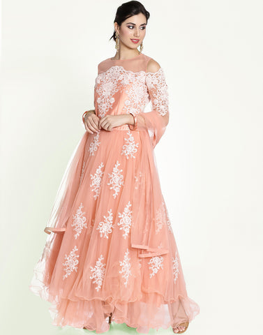 Meena Bazaar: Embroidered Anarkali Suit With Cold Shoulder Sleeve