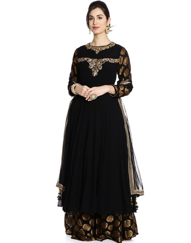 Meena Bazaar: Embellished Pure Georgette Anarkali Suit With Pants