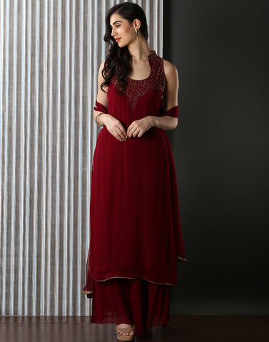 Maroon colour embellished Pure Georgette  Suit With Sharara