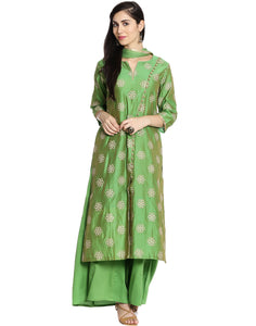 Meena Bazaar: Cotton Chanderi Suit With Floral Thread Embroidery