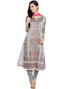 Meena Bazaar: Grey  Cotton Chanderi suit with Floral Embroidery