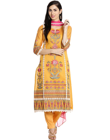 Meena Bazaar: Mustard Cotton Chanderi suit with Floral Embroidery