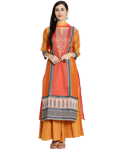 Meena Bazaar: Cotton Chanderi Suit With Thread  Embroidery