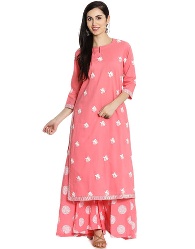Meena Bazaar: Floral Embroidered Cotton Kurti With Palazzos