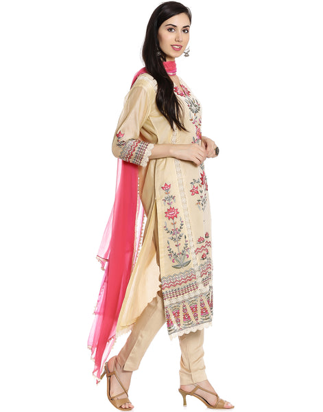 Meena Bazaar: Cream colour Cotton Chanderi suit with Floral Embroidery
