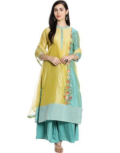 Meena Bazar: Double Shaded cotton Chanderi Suit with Floral Embroidery