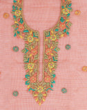 Unstitched Cotton Kora Suit with Embroidered Yoke By Meena Bazaar