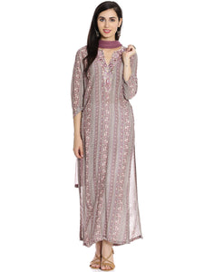 Meena Bazaar: Floral Printed Cotton Palazzo Suit With Embroidered Yoke