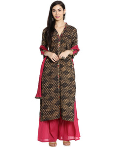 Meena Bazaar: Floral Printed Cotton Sharara Suit