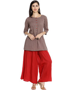 Meena Bazaar: Short Cotton Kurti With Floral Print
