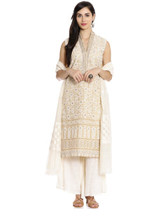Meena Bazaar: Embroidered Cotton Kota Palazzo Suit