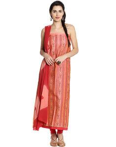 Meena Bazaar: Unstitched Cotton Chanderi Suit Wit Floral Thread Embroidery