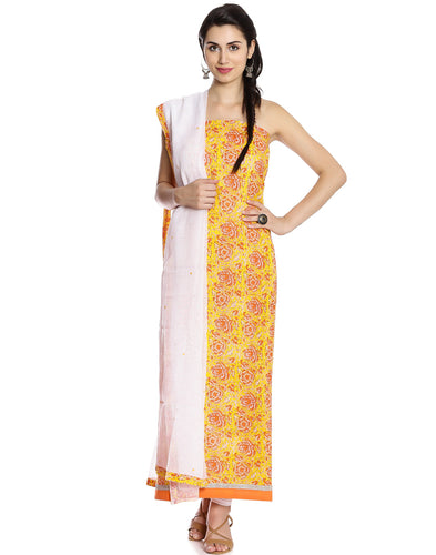 Meena Bazaar: Unstitched Cotton Suit With Floral Print