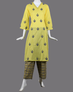 cotton kurti with printed palazzo
