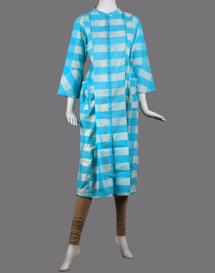 cotton check print kurta