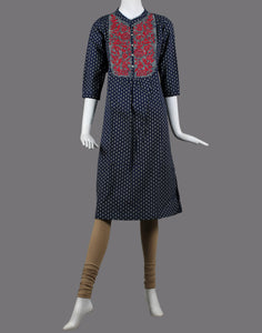 cotton printed kurti with thread embroidery