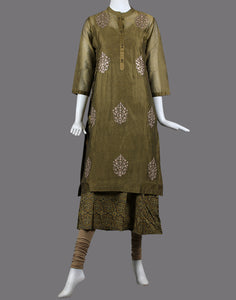cotton chanderi double layer kurti