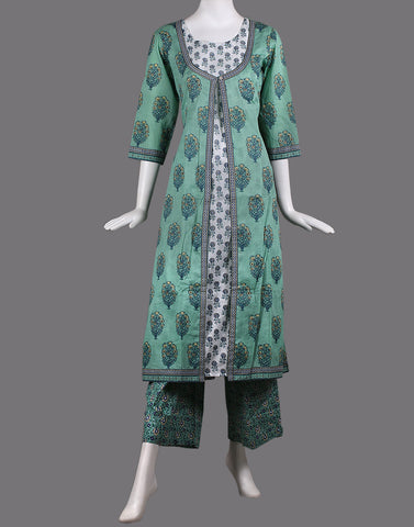 cotton double layer kurti with palazzo