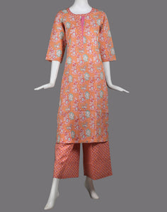 cotton floral printed kurti with palazzo