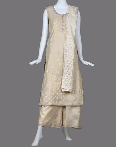COTTON Tissue straight SUIT SET WITH EMBROIDERY