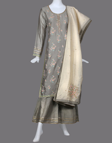 COTTON CHANDERI SUIT SET WITH EMBROIDERY