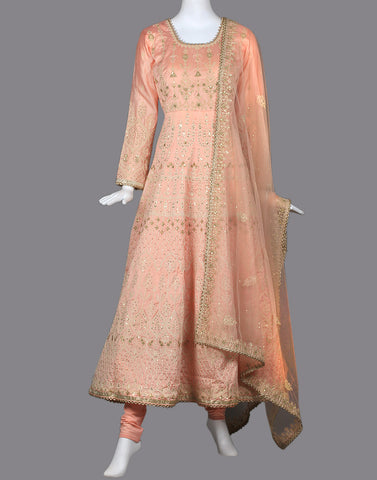 COTTON CHANDERI ANARKALI SUIT SET WITH EMBROIDERY