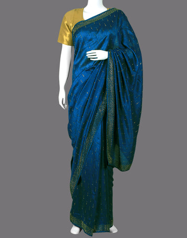 Art tussar saree with all over stones detailing