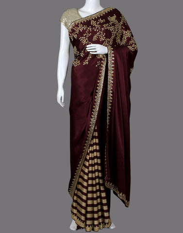 Satin saree with golden embroidery