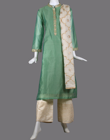 COTTON CHANDERI  SUIT SET WITH GOTA EMBROIDERY