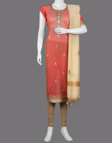 COTTON CHANDERI SUIT PIECE WITH EMBROIDERY
