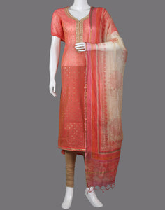 COTTON CHANDERI SUIT PIECE WITH PRINTED DUPPATA