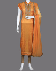 COTTON CHANDERI SUIT PIECE WITH NECK EMBROIDERY