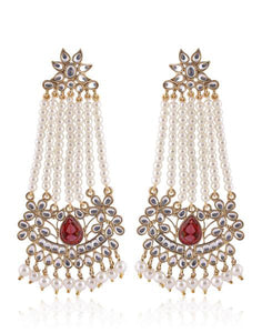 Meena Bazaar: Pearl and gemstone danglers with red color stone in the middle.