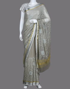 Grey Art Chiffon Embroidery Saree